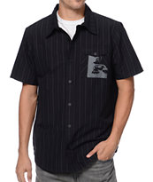 Metal Mulisha Renowned Black Pinstripe Short Sleeve Button Up Shirt