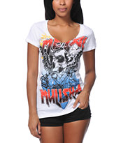 Metal Mulisha Sweet Misery White V-Neck Tee Shirt
