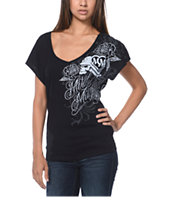 Metal Mulisha Visionary Black Dolman V-Neck Tee Shirt