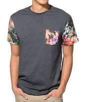 Mighty Healthy Digi Floral Charcoal Pocket Tee Shirt