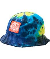 Milkcrate Neon Blue Tie Dye Bucket Hat