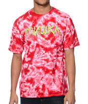 Mishka Cyrillic Green Goo Red Tie Dye Tee Shirt