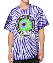 Mishka Keep Watch Crest Purple Tie Dye Tee Shirt