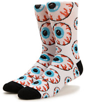 Mishka Keep Watch White Crew Socks