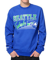 Mitchell & Ness Sea Seahawks Training Blue Crew Neck Sweatshirt
