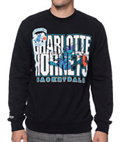 Mitchell and Ness Charlotte Hornets Tech Foul Black Crew Neck Sweatshirt