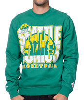 Mitchell and Ness Seattle Sonics Tech Foul Green Crew Neck Sweatshirt