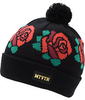 Motivation Rose Black Pom Fold Beanie