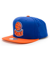 NBA Hall Of Fame x Mitchell and Ness Upside Down Knicks Blue Snapback Hat