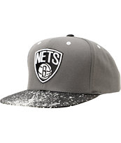 NBA Mitchell And Ness Brooklyn Nets Grey Splatter Snapback Hat
