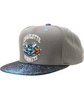 NBA Mitchell And Ness Charlotte Hornets Grey Splatter Snapback