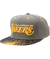 NBA Mitchell And Ness LA Lakers Grey Splatter Snapback Hat