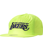 NBA Mitchell And Ness LA Lakers Neon Yellow Snapback Hat