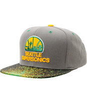NBA Mitchell And Ness Seattle Sonics Grey Splatter Snapback Hat