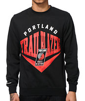 NBA Mitchell and Ness Blazers Beveled Crew Neck Sweatshirt