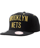 NBA Mitchell and Ness Brooklyn Nets Black & Gold Snapback Hat