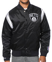 NBA Mitchell and Ness Brooklyn Nets Division Black Satin Jacket