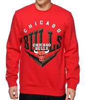 NBA Mitchell and Ness Bulls Beveled Crew Neck Sweatshirt
