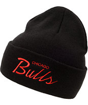 NBA Mitchell and Ness Bulls Black Fold Beanie