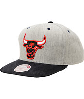 NBA Mitchell and Ness Bulls Grey Denim 2Tone Snapback Hat