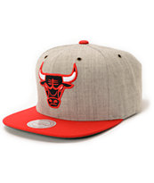NBA Mitchell and Ness Bulls Grey Wool 2Tone Strapback Hat