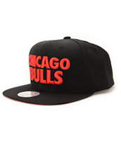 NBA Mitchell and Ness Bulls HWC Title Black Snapback Hat