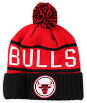 NBA Mitchell and Ness Bulls Pom Beanie