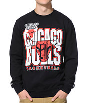 NBA Mitchell and Ness Bulls Tech Foul Black Crew Neck Sweatshirt