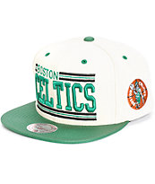 NBA Mitchell and Ness Celtics New Block Snapback Hat