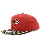 NBA Mitchell and Ness Heat Native Stripe Snapback Hat