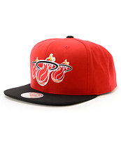 NBA Mitchell and Ness Heat Triple Stack Red 2Tone Snapback Hat