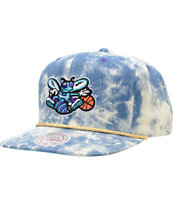 NBA Mitchell and Ness Hornets Acid Wash Blue Snapback Hat