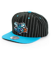 NBA Mitchell and Ness Hornets Pinstripe Snapback Hat