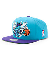 NBA Mitchell and Ness Hornets XL Logo Blue Snapback Hat