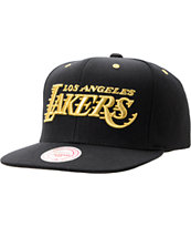 NBA Mitchell and Ness LA Lakers Black & Gold Snapback Hat