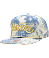 NBA Mitchell and Ness Lakers Acid Wash Blue Snapback Hat