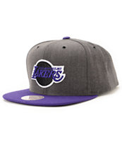 NBA Mitchell and Ness Lakers Dark Heather 2 Tone Snapback Hat