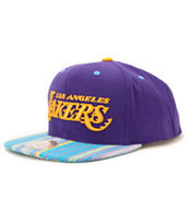 NBA Mitchell and Ness Lakers Native Stripe Snapback Hat