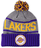 NBA Mitchell and Ness Lakers Pom Beanie