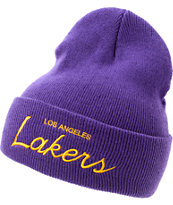 NBA Mitchell and Ness Lakers Purple Fold Beanie