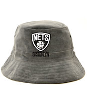 NBA Mitchell and Ness Nets Team Color Cord Bucket Hat