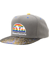 NBA Mitchell and Ness Nuggets Grey Splatter Snapback Hat