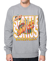 NBA Mitchell and Ness Seattle Sonics Grey Crew Neck Sweatshirt