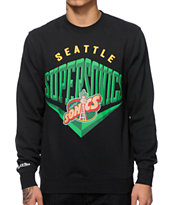 NBA Mitchell and Ness Sonics Beveled Crew Neck Sweatshirt