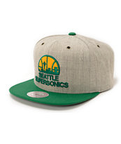 NBA Mitchell and Ness Sonics Grey Wool 2Tone Strapback Hat