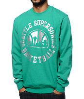 NBA Mitchell and Ness Sonics Silver Metallic Crew Neck Sweatshirt