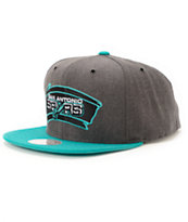 NBA Mitchell and Ness Spurs Dark Heather 2 Tone Snapback Hat