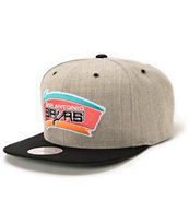 NBA Mitchell and Ness Spurs Grey Wool 2Tone Strapback Hat