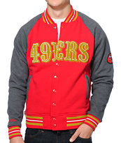 NFL Mitchell and Ness 49ers Backward Pass Red Jacket