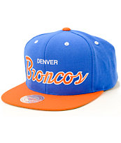 NFL Mitchell and Ness Broncos Script 2 Tone Snapback Hat